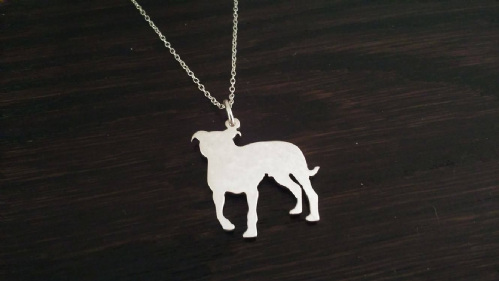 staffordshire bull terrier staffy strong dog pendant sterling silver handmade by saw piercing Caroline Howlett Design